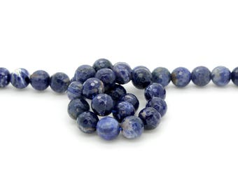 """Natural Sodalite Faceted Round Sphere Ball Loose Gemstone Beads - Full 15.5"""" Strand"""