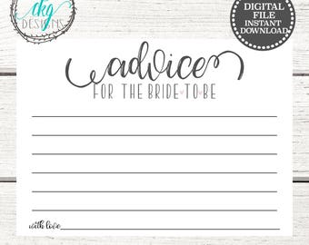Advice for Bride to be | Bridal Shower Games | Bridal Shower Advice Cards | Wedding Shower Advice | Wedding Shower Game | HeartShower