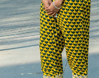 High waist pants in African fabric
