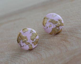Pale Pink Gold Flaked Studs, Light Pink Studs, Light Pink Earrings, Classy Pink Studs, Pink And Gold Handcrafted Polymer Clay Jewelry