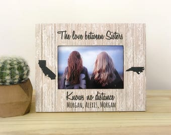 Personalized Gift for Sister The Love Between Sisters Long Distance States Long Distance Frame Sisters Gift Best Friend Sister Frame