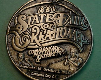 Oklahoma State Fair Medal  1994 Bronze And Beautiful  69 MM  Mint Condition<># ETB6071