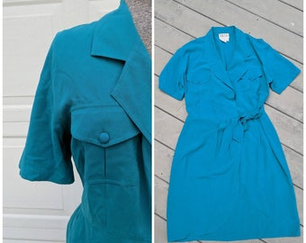 90's Teal Wrap Dress, Medium
