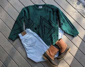 Vintage 80s/90's Rad Green Old Man Ski Sweater || Super Soft Bill Crosby Crewneck, Medium