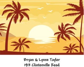 Beach Scene Address Labels ~ Sunset