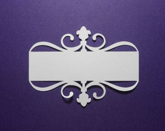 """12 White Flourish Cardstock Paper Die Cuts 3 1/2"""" Paper Tags Labels Embellishment Journaling Tag Scrapbooking Card Making"""