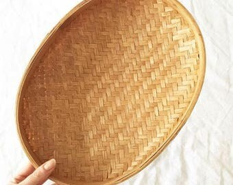 VINTAGE CANE Oval bowl/basket