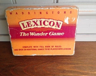 Vintage Lexicon card game waddingtons first edition book 1950s
