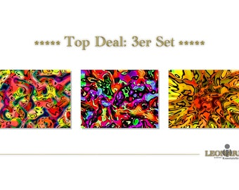 ABSTRACT ART - set of 3 - canvas - canvas - 104 abstract art abstract art - abstract painting - modern art - modern art