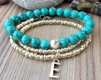 Personalized initial Bracelet, initial beaded bracelet, letter Bracelet, personalized beaded Bracelet, personalized turquoise bracelet, gift