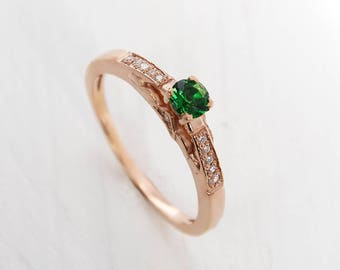 Antique engagement ring, Emerald ring gold, 14k gold engagement ring, Emerald engagement ring, Women engagement ring, Antique ring gold