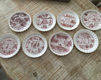 Set of 8 Brown Transfer Ware Souvenir Plates with Gold Trim