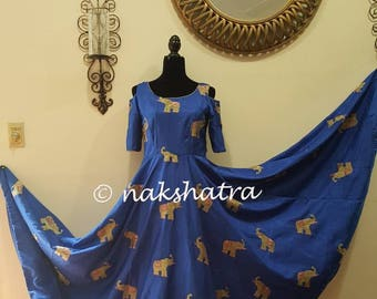 Blue 10 meter heavy flair long frock with cold shoulder and elephants thread work throughout