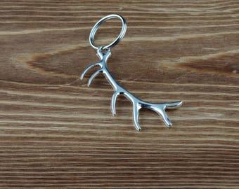 Silver Elk Antler Keychain