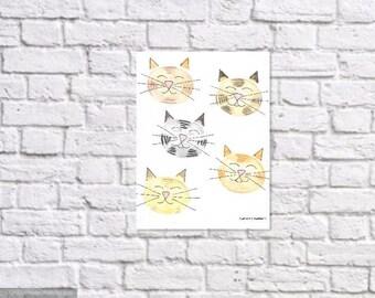 Instant download, original watercolor, cat face illustration