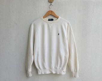 Vintage 90's White Polo Ralph Lauren Sweatshirt Small Embroidery Logo