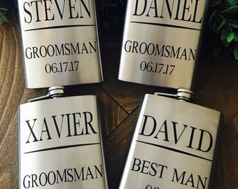 Groomsmen personalized flasks