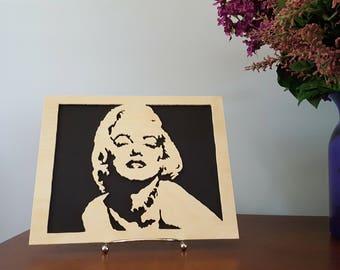 Hand-Cut Wooden Marilyn Monroe Portrait