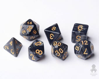 Black Dice - Dungeons and Dragons - Pathfinder - Black Pearl Dice With Gold Number (KD0019)