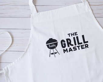 Mens Grilling Apron. Personalized White Grill Master Cooking Apron. The Grill Master BBQ Apron for Him, Gift for Dad from the Kids