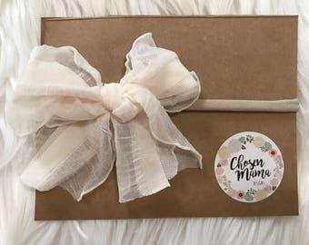 Ivory nylon headband mini messy bow, ruffle bow, baby headband, newborn headband, newborn bow, skinny bow, skinny headband, nylon headband