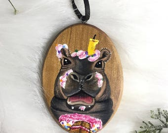 Fiona the Hippo Ornament - First Birthday Gift - FREE personalization - Fiona the Hippo Gift - Personalized Ornament