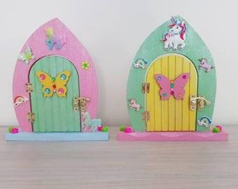 Wooden unicorn etsy for Rainbow fairy door