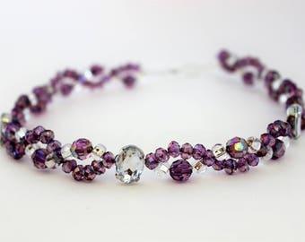 Purple and Crystal Wired Headband