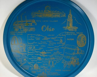 Metal Ohio Round Souvenir Tray