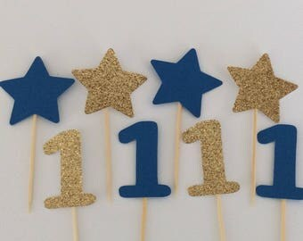 Boys first birthday decorations, Cupcake toppers, Twinkle Twinkle Little Star birthday, Boys birthday, Star birthday, First birthday boy