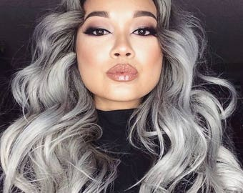 Ombre hair extension 1B grey straight (1 bundle only) Brazilian