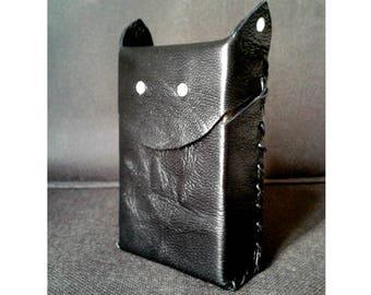 Pack of black leather cigarette case