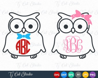 Owl SVG, Owl with Bow Monogram , Owls Monogram, Monogram Owl, Svg Files for Silhouette Cameo or Cricut Commercial & Personal Use