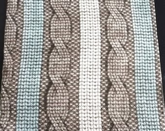 Paper towel mesh sweater blue Brown and white