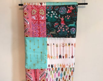 Infant Baby Blanket Minky Cotton Boho Aztec Pink Teal Green Feathers Arrows