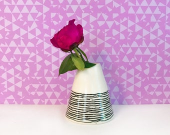 Black Striped Bud Vase