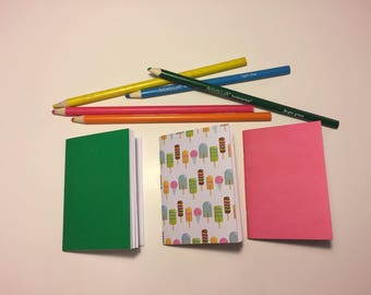 "Traveler's Notebook Micro or Nano Inserts ""Ice Cream w/pink&green"