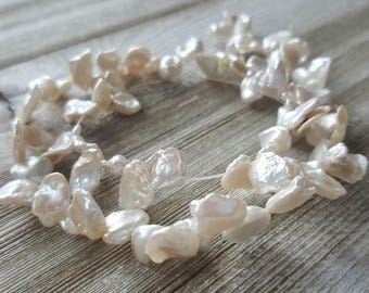 Small Baroque Keishi Ivory White Cultured Freshwater Pearls, High Luster, Genuine, 9-13mm, 10 Pieces