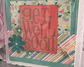 Handmade handstitched get well soon card