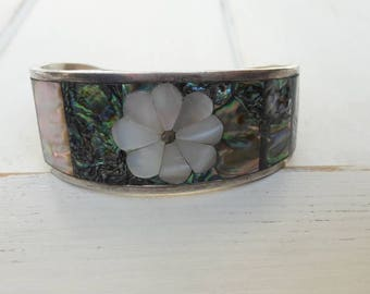 Vintage Mexican Alpaca Silver Abalone and Mother of Pearl Bangle