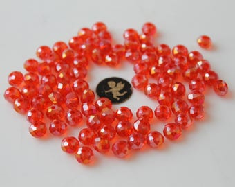 40 red faceted glass 8 mm beads - jewelry