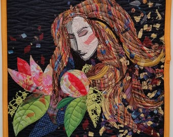 Lady With Flowers, art quilt, wall hanging, 29x29 cm