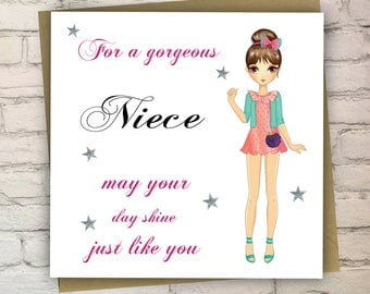 Personalised Birthday Card, Cards For Girl, Teenager Card, Pretty Card, Niece, Sister, Daughter, Cousin, Free UK Shipping