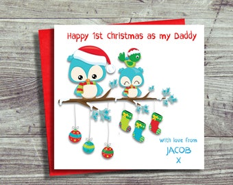 First Christmas As Daddy Card, Christmas Card For Daddy, Daddy's First Christmas, Card From Baby