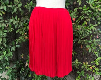 Red Silk Pleated Wrap Skirt