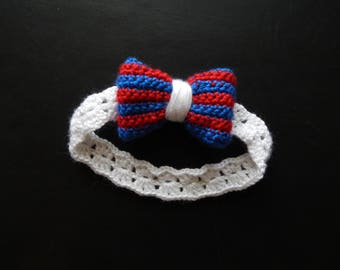 Handmade, crochet 4th of July headband, white with blue and red bow, preemie-24 month sizes, made to order, fourth of July