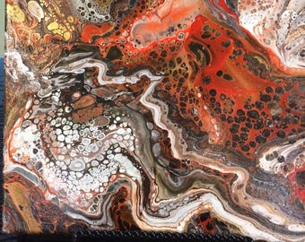 "Moria ""dirty cup"" pour abstract acrylic painting on canvas"