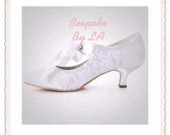 Wedding Shoes Low Heel Lace Victorian Style Ribbon Tie