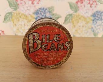 Vintage Bile Beans tin & original paper wrapper