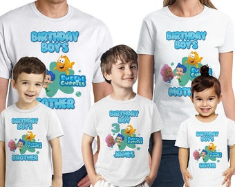 Bubble Guppies Birthday Shirt Personalized Bubble Guppies Party T-Shirts Customized Name and Age